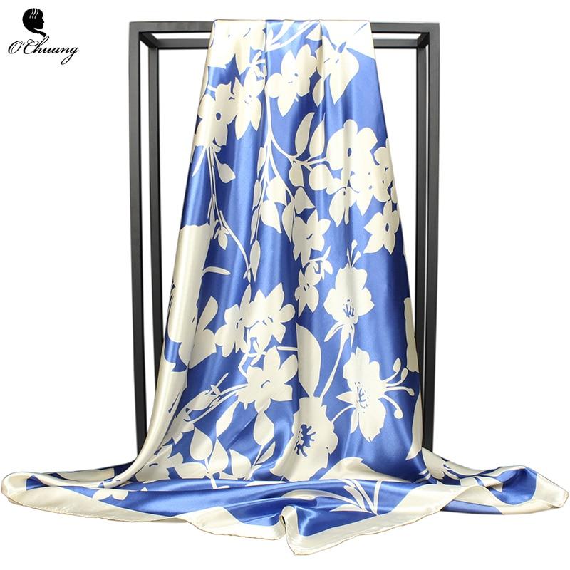 Women Scarf Silk Blue Flower Print Foulard Luxury Designer Big 90*90cm Bandana Hijab Satin Square Head Scarves Woman Shawl