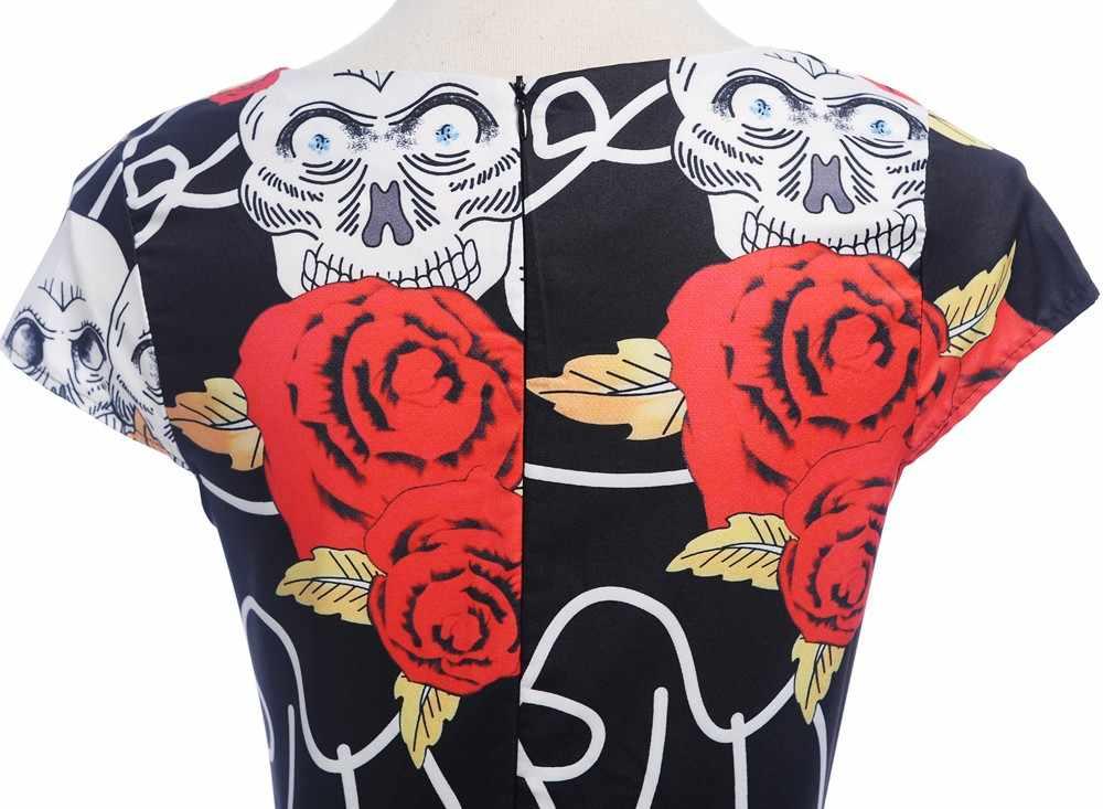 1887ec5bd4 plus size Female Vintage Rose Skull Party Swing Dresses Women 1950s Retro  elegant Dresses Fashion Ladies clothes robe femme