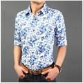 2016 новинка мужские цветочные рубашка высокое качество чистого хлопка с длинным рукавом тонкой-fit рубашка 13 цвета азиатских размер M-3XL