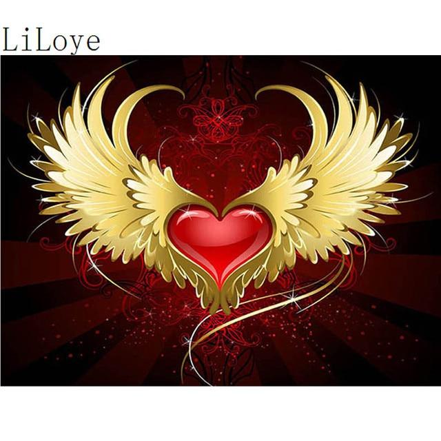 Li Loye Diy Diamant Malerei Flügel Liebe Herz Muster 5d Kreuzstich