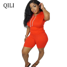 QILI New Arrivals Women Jumpsuits Hoodies Rompers Drawstring Patchwork Short Sleeve 2 Piece Casual Fashion Playsuits