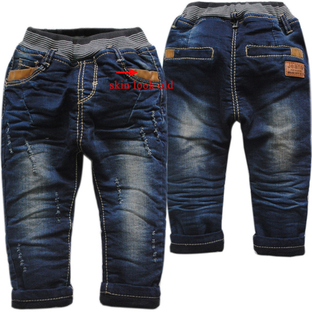 3982 winte vaqueros pantalones del bebé bebé niños pequeños pantalones harem denim + fleece pantalones calientes niños de la manera de dos pisos nueva niza 2016