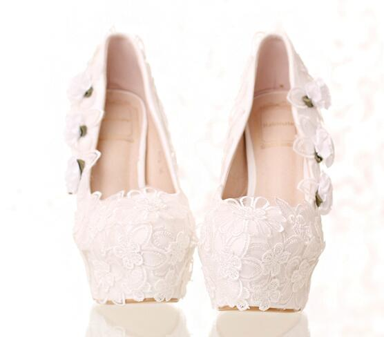 ФОТО 2017 NEW STYLE wedding shoes white ultra high heel thin heel bridal shoes lace flower decoration make you more elegant