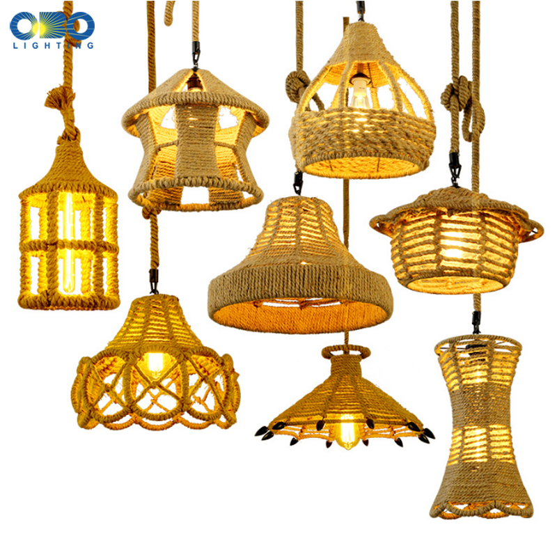 Vintage Pendant Lamp Hemp Rope Weave Iron Lampshade Creative Shop/Coffee House Indoor Lighting Pendant Lights Bar E27 110-240V vintage style creative edison lamp personality decoration hemp rope pendant lamp hall cafe bar coffee shop store club