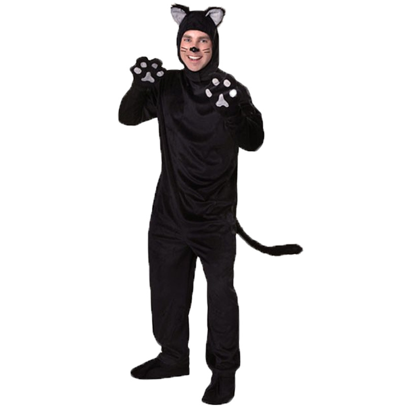 buy halloween adult black cat costume for men women cosplay costumes attached cuddly animal costume stage performance clothing from