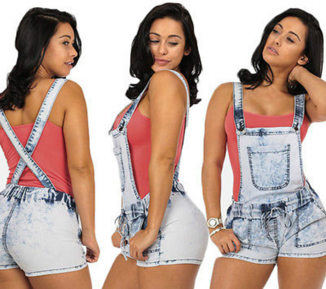 ed715cd0b1 New Women Lady Sexy HotSummerHigh Waist Removable Strap Denim Overall  Shorts Jeans Plus Size