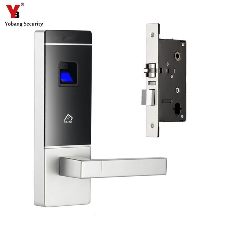 YobangSecurity Smart Entry Door Lock Biometric Fingerprint+4 Cards+2 Mechanical Keys Intelligent Door Lock For Home Office