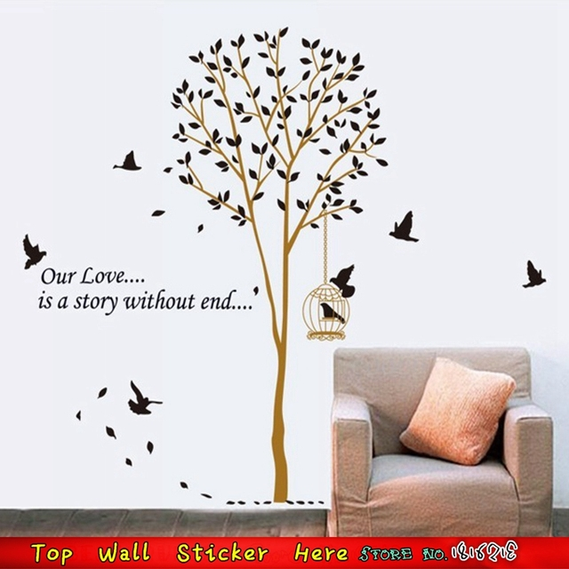 Family decoration tree birdcage flying birds print wall stickers home decoration house ornaments pvc wallpaper posters