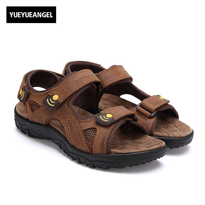 Summer Leisure Beach Men Shoes Ankle Strap High Quality Leather Sandals Open Toes Vintage Rome Antiskid Footwear Male Big Size