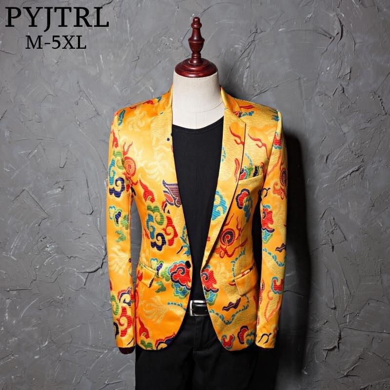PYJTRL Brand Tide Mens Golden Chinese Style Dragon Pattern Digital Print Suit Jacket Wedding Party Nightclub Stage Blazer