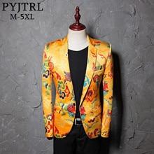 PYJTRL ยี่ห้อ Tide Mens สไตล์จีนมังกรรูปแบบดิจิตอลพิมพ์เสื้อสูทงานแต่งงานไนท์คลับเวที Blazer
