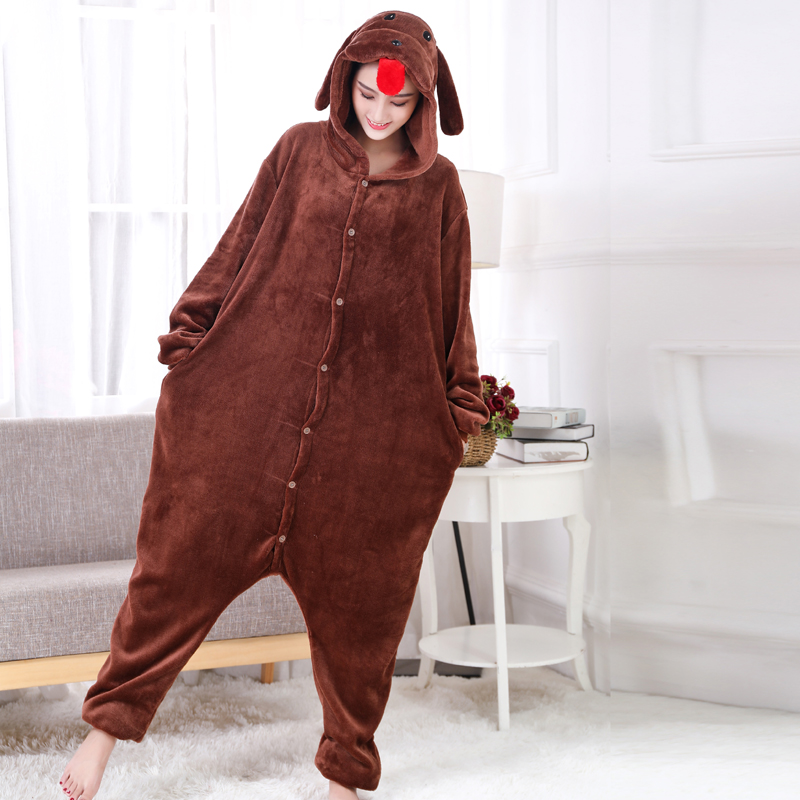 New Brown Teddy Dog Kigurumi Thick Flannel Animal One-Piece Pajamas For Onesie For Adults Cosplay Party Costume Pyjamas Suit (3)