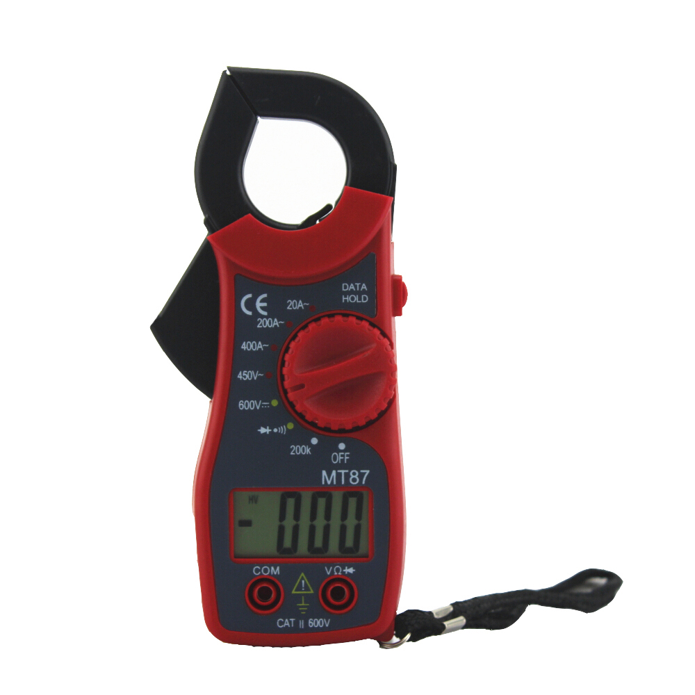 MT87 Red Digital Multimeter Amper Clamp Meter Current Clamp Pincers AC/DC Current Voltage Tester high quality mt87 lcd auto digital multimeter electronic voltage tester ac dc clamp transistor meter diagnostic tool