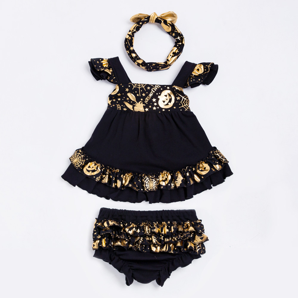 YK y Loving Black Girl Baby Clothes Flare Sleeve New Halloween Party Baby Clothing Sets Golden Pumpkin Fashion tutú Top + Bloomer
