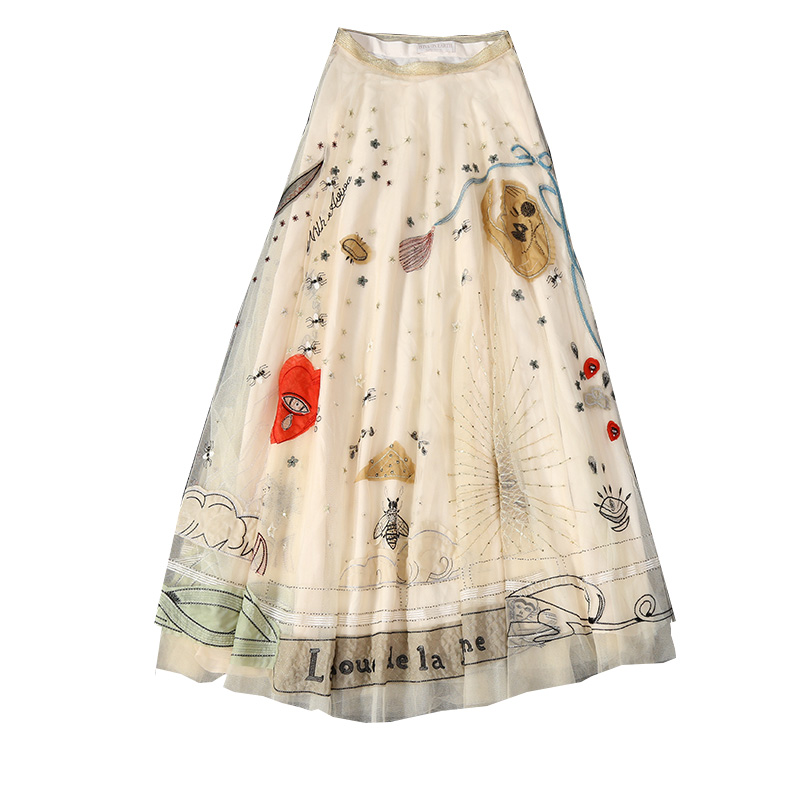 New  Long Skirt The Female Summer  Heavy Industry The Nail Bead Net Gauze Embroidery Half Skirt.
