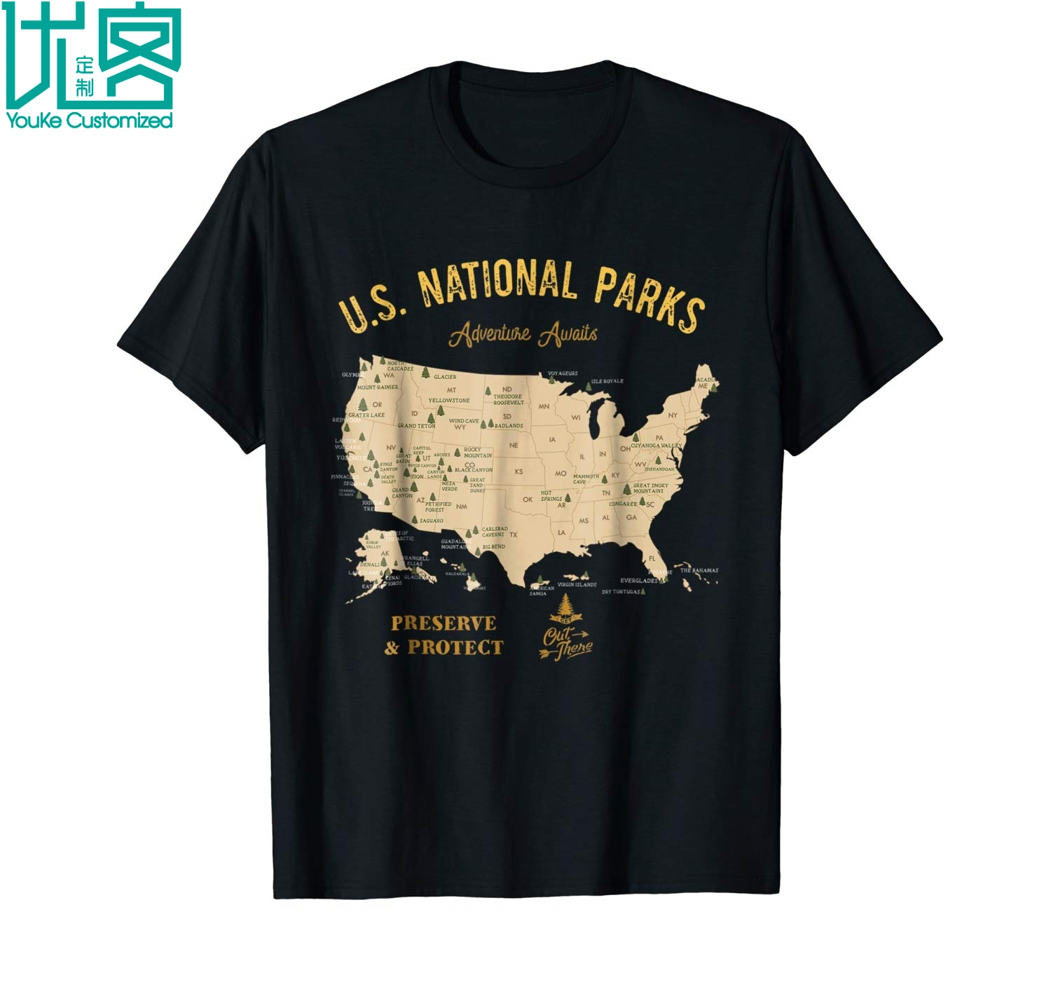 U S National Parks Map T Shirt Vintage Hiking Camping Shirt 2019 Summer Men's Short Sleeve T-Shirt image
