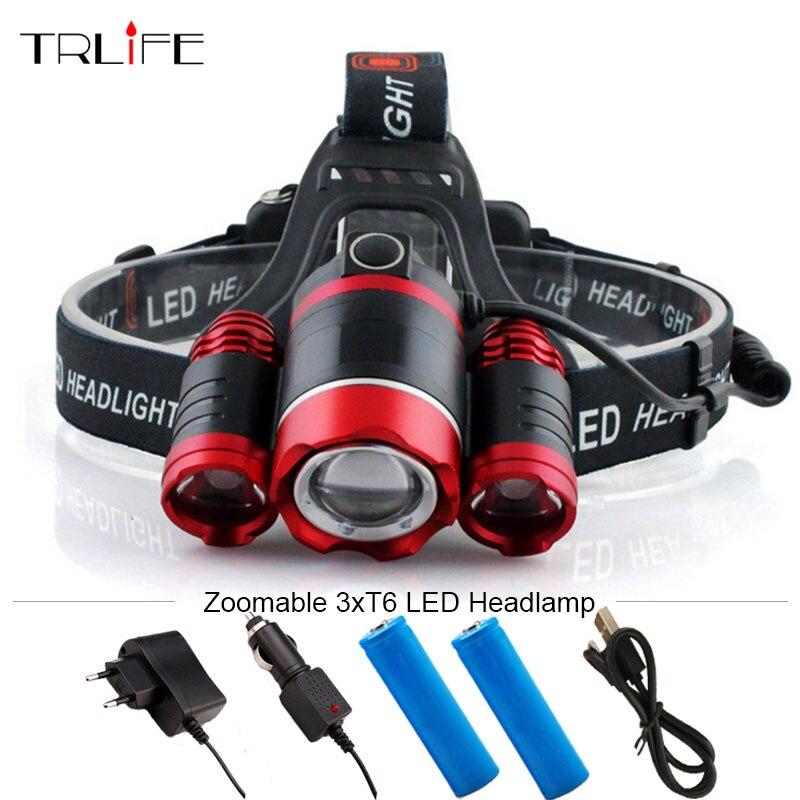 13000 Lumens Rechargeable LED Headlamp 3T6 Head Flashlight ...