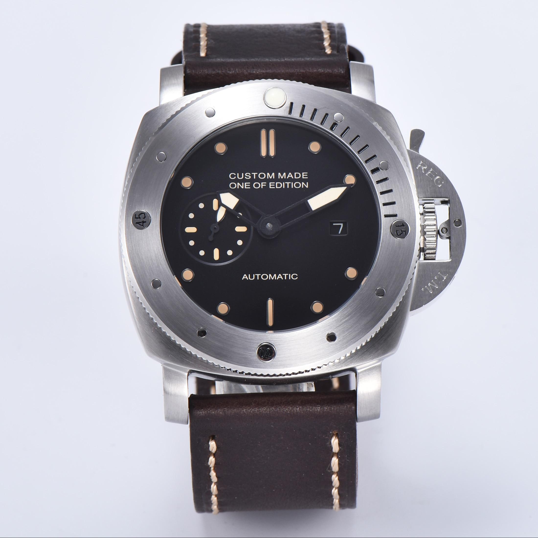 자동 시계 47mm 레트로 pvd 실버 스테인레스 스틸 케이스 뒤 표지 전시 군사 블랙 다이얼 543-에서기계식 시계부터 시계 의  그룹 1