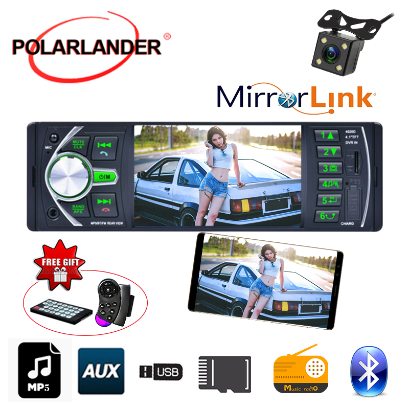 1 Din Mirror Link Autoradio Bluetooth 12V W DVR Audio Car Radio Stereo 4 1 39 39 FM radio cassette player Input TF USB AUX In in Car MP3 Players from Automobiles amp Motorcycles