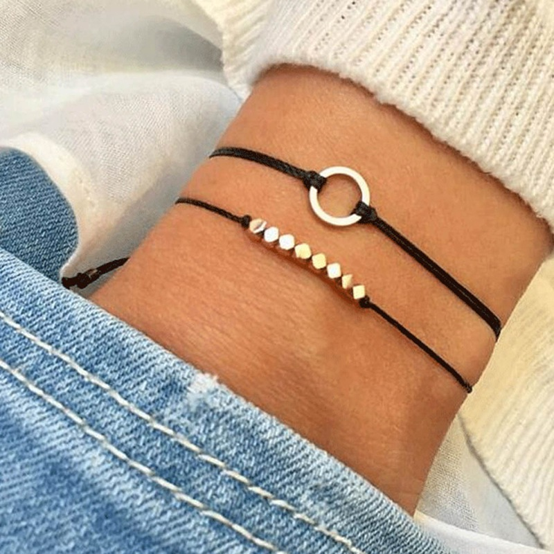 2Pcsset Charm Square Beads Weave Rope Bangle Bracelet Multi-layer Hollow Circle Braided Leather Anklets Bracelets Women Jewelry