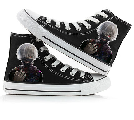 2018 Anime Tokyo Ghoul Kaneki Ken Canvas Shoes Unisex Fashion Canvas Flat cosplay boots High Top Print Leisure Shoes 011007