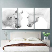 2 Black And White Horses Canvas  Prints Wall Art for Modern Home Decorations Animals Pictures For Living Room Bedroom Decor