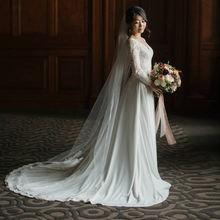 Шифоновое свадебное платье со шлейфом с длинным рукавом