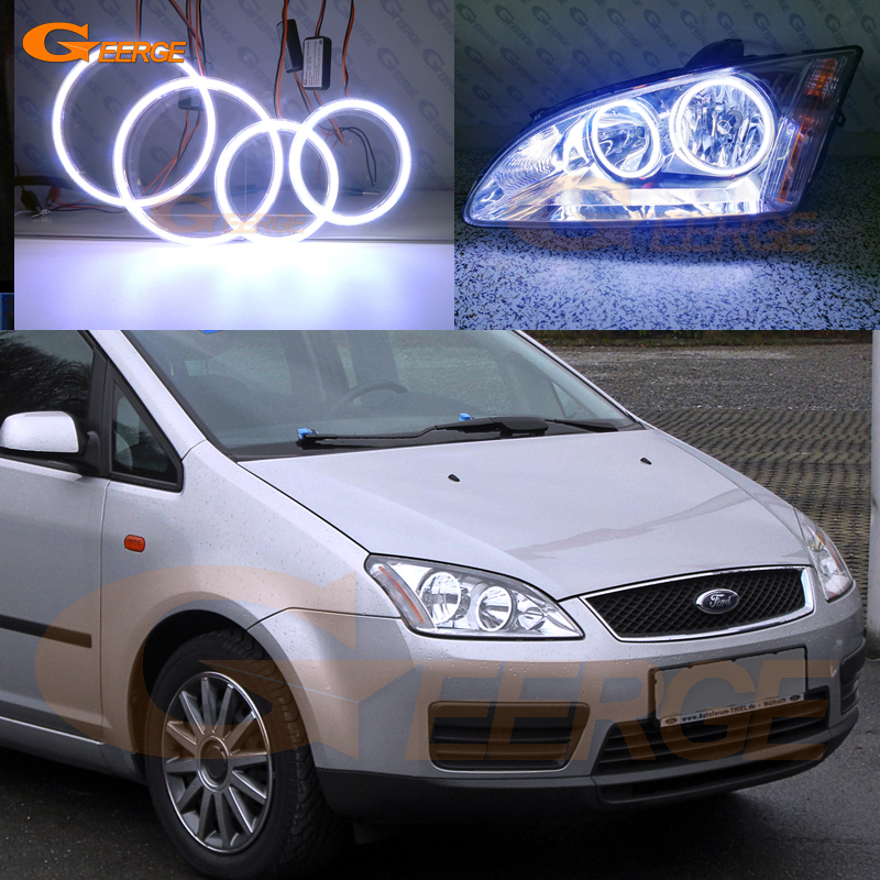 For Ford Focus C Max 2003 2004 2005 2006 2007 Excellent Ultra bright illumination COB led angel eyes kit halo rings