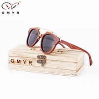 GMYR 3 Lenses Wood Sunglasses Women Handmade Copper Nose Rose Wooden Madeira Vintage Men Sunglasses Frame