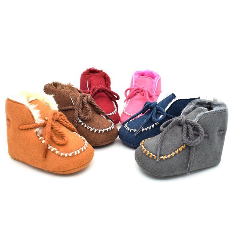 2017 New Winter Baby Girls Boys Shoes Boots Infants Warm Fur Wool Booties Sheepskin Genuine Leather Kids Fur Boots
