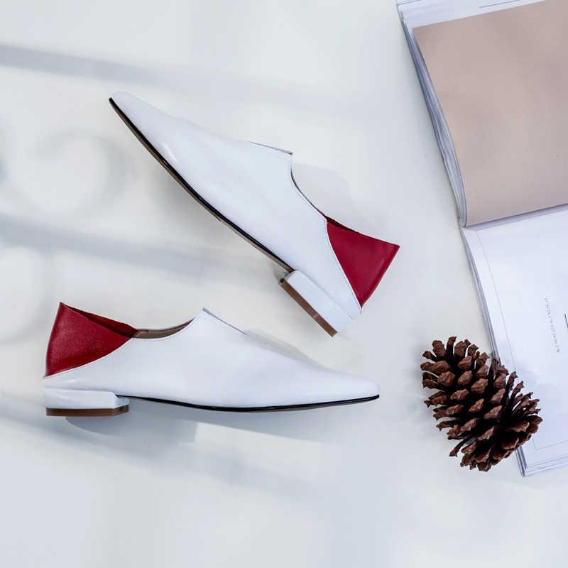 2019 Scarpe Da Donna Mocassini di Cuoio Genuini Patchwork Scarpe In Pelle di Moda per le Donne Tacco Quadrato Scarpe Basse Calzature di Alta Qualità