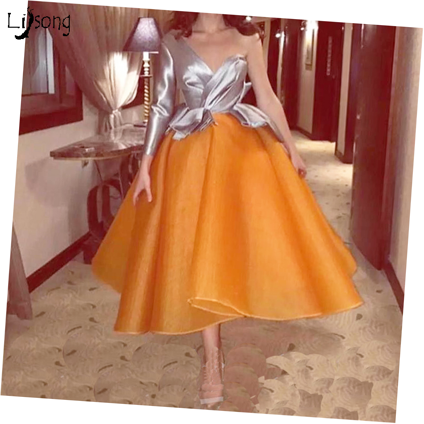 Chic Design Organza Sliver One Shoulder Long Sleeves Midi   Evening     Dress   Custom Made Special Occasion Party Formal Gown Dtesses