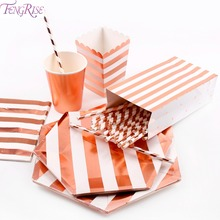 FENGRISE Popcorn Bag Box Rose Gold Party Decoration Paper Plate Napkins Cups Straws Table Unicorn Birthday Tableware Decro