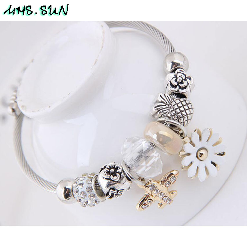 28-2Fashion Design Women Bangles Bracelets Bohemia Style Flower Plane Pendants European Bangles For Female All-Math Jewelry