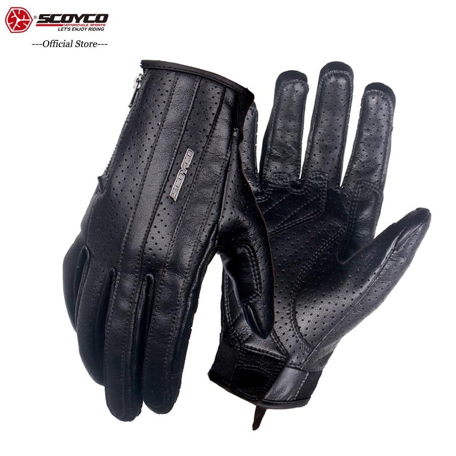 SCOYCO 2019 Retro Genuine Leather Motorcycle Gloves Ventilate Soft MBX MTB ATV Gloves Motocross Extreme Sport