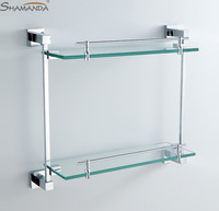 New Chrome Free Shipping Bathroom Accessories Products Solid Base with Tempered Double Shelf cosmetics Shelf 94016
