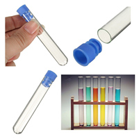 SOSW-10pcs 12*75mm Borosilicate Glass Test Tubes Rimless Pyrex With Push Caps Lab Clear