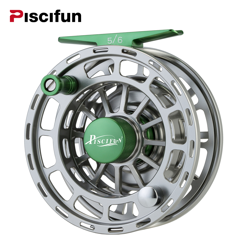 Piscifun Platte Green Fly Fishing Reel 3/4 5/6 7/8 9/10 WT CNC Machine Cut Fishing Reel Large Arbor Aluminum Fly Reel maximumcatch hvc 3 10 wt exclusive super light fly reel cnc machine cut fly fishing reel large arbor aluminum fly reel