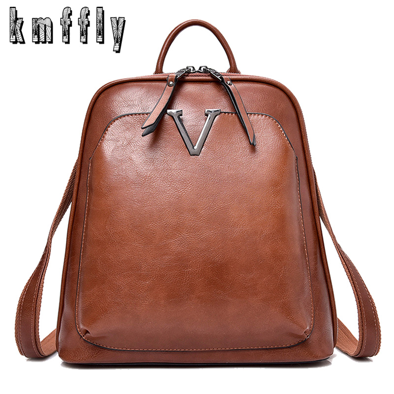 2018 Retro Women Backpack High Quality Leather Luxury Unisex Backpack Fashion School Bag For Teenage Girls Lady Travel Backpacks