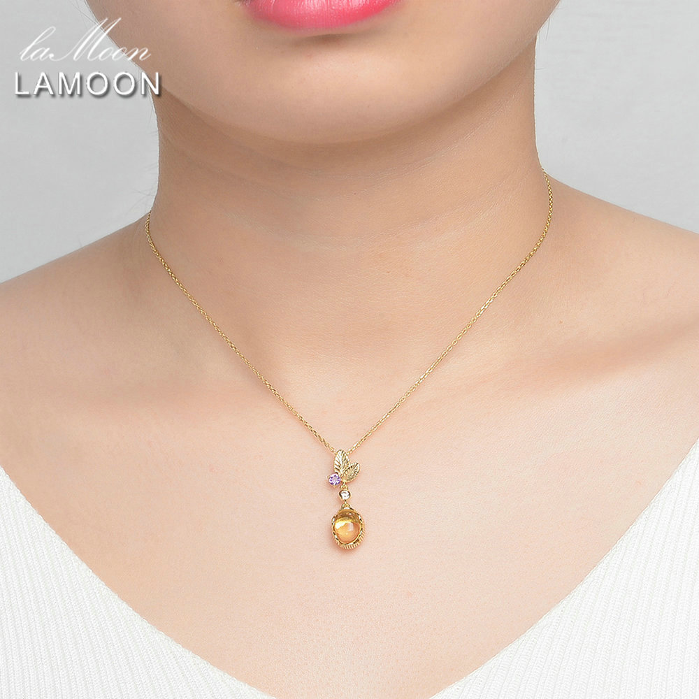 Image 4 - LAMOON 925 Sterling Silver Necklace Citrine Gemstone Pendant Necklace For Women 14K Gold Plated Leaf Shape Fine Jewelry  LMNI010-in Necklaces from Jewelry & Accessories