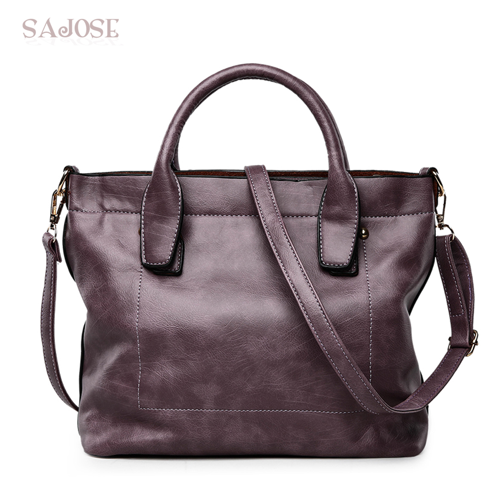 Designer Leather Women Vintage Handbags High Quality Famous Brands Ladies Classic Simple Bags Female Purple Tote