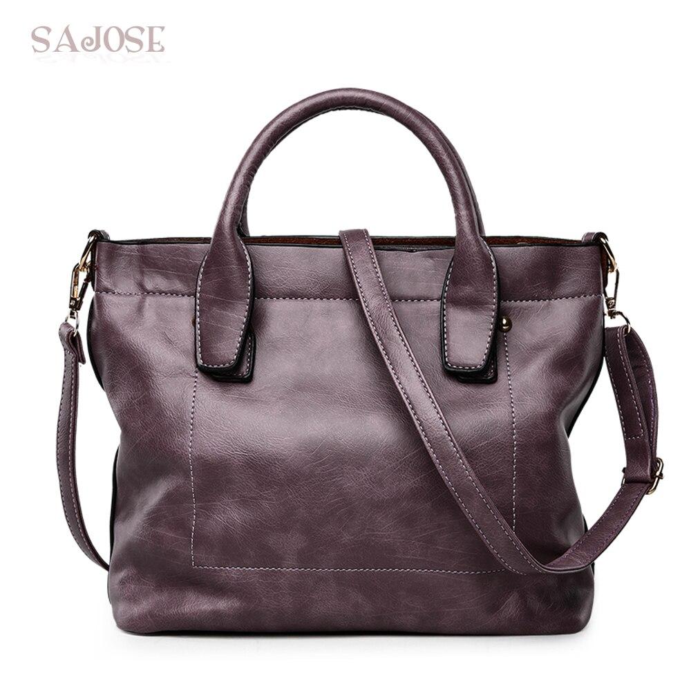 Designer Leather Women Vintage <font><b>Handbags</b></font> High-Quality Famous Brands Ladies Classic Simple Bags Female <font><b>Purple</b></font> Tote Bag SAJOSE