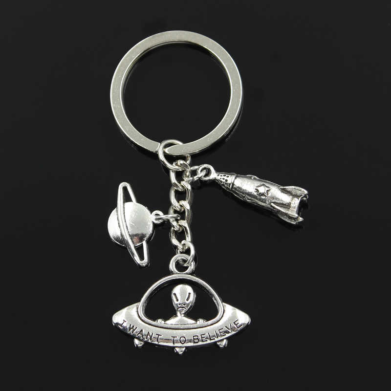 Fashion 30mm Key Chain Keychain Jewelry Silver rocket spaceship alien UFO planet spark Pendant