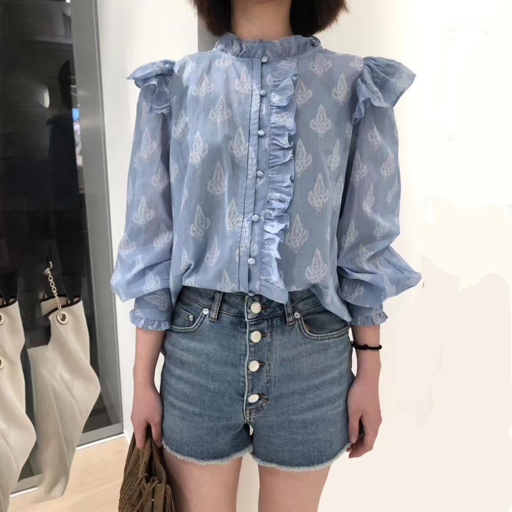 2020 New Sweet Blouse Office Lady Long Sleeve Flower Print Ruffle Shirt Top Autumn Winter