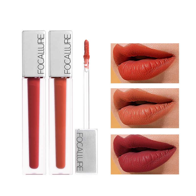 FOCALLURE Mat dudak parlatıcısı su geçirmez uzun ömürlü En kaliteli kırmızı kahverengi kadife dudak tonu kadınlar güzellik makyaj lipgloss