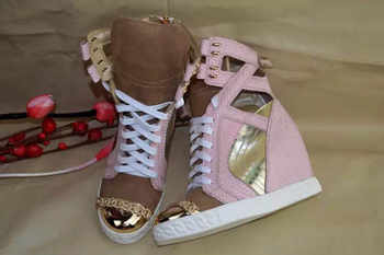 Patchwork Height Increasining Women Casual Shoes Wedges Sneakers Genuine Leather Metal Toe Pink Lace Up Platform Shoes Women