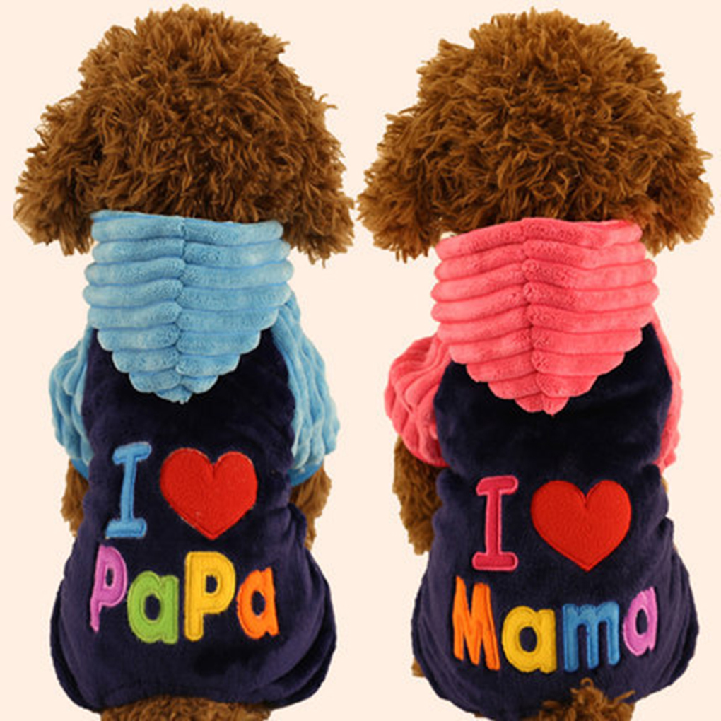 Simple I Love Papa And Mama Winter Dog Clothes Pet Clothing Small Big Dog Hooded Four Feet Coats Jackets
