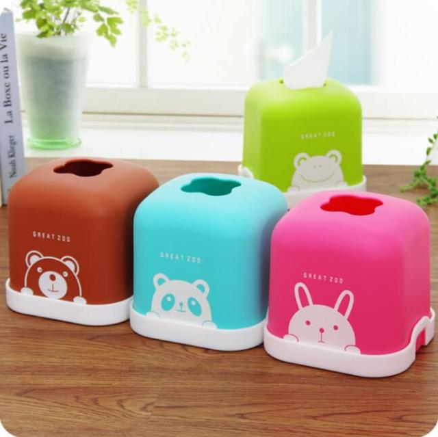 Cartoon Animal Plastic Cute Tissue Box Household Desktop Roll Storage Box  Bathroom Thickening Tissue Holder