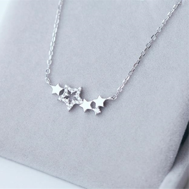 Cute Stars Small Exquisite Gift Clavicle Chain 925 Sterling Silver Temperament Personality Fashion Female Necklace SNE131