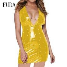 FUDA PU Leather Bodycon Women Dress Elegant Deep V-neck Sleeveless Female Pearl Sheath Mini Sexy Club Short Vestidos